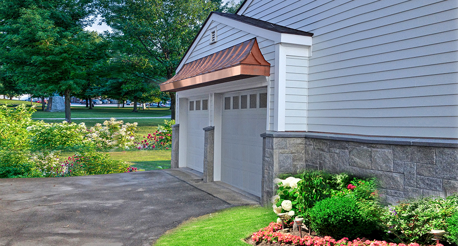 Copper Roof over Garage Doors by Craftsman Metal, Newburgh, NY