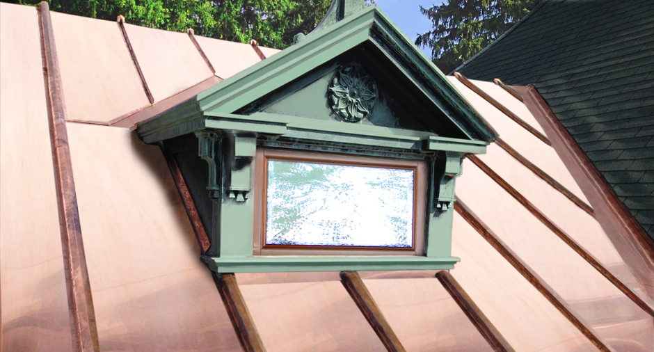 Historical Restoration of Copper Roof and flashing of Decorative Dormer on Famous Millbrook Estate by Craftsman Metal